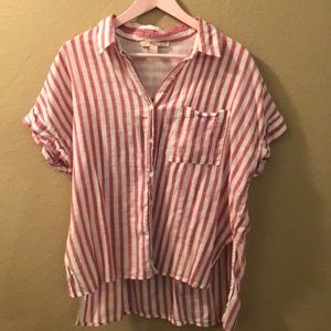 Contemporary pink and white button down shirt